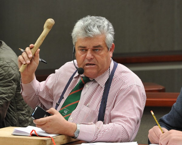 Auctioneer Richard Hyde at Hereford Livestock Market